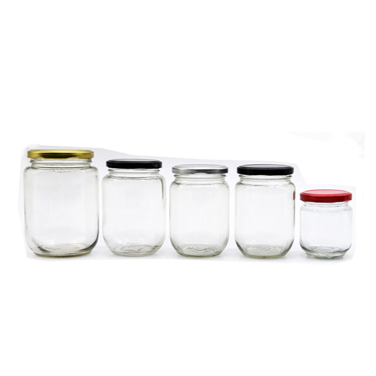 Hot selling 18ml 25ml 35ml 50ml 60ml 75ml 150ml 100g 195ml 200ml 240ml 350ml 450ml 500ml 1000ml glass jar storage jam