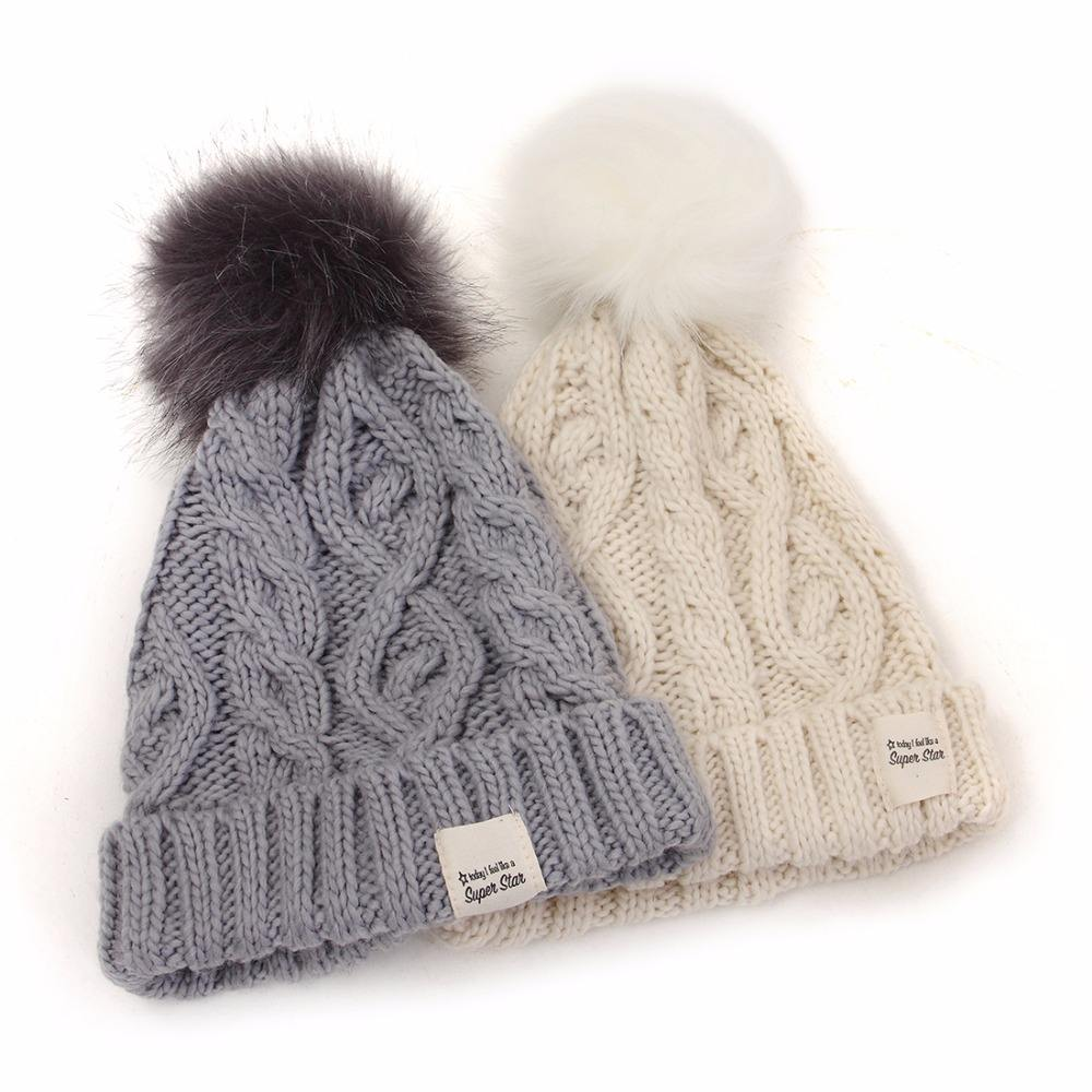 women winter faux fur pompom beanies bobble hats with customized label