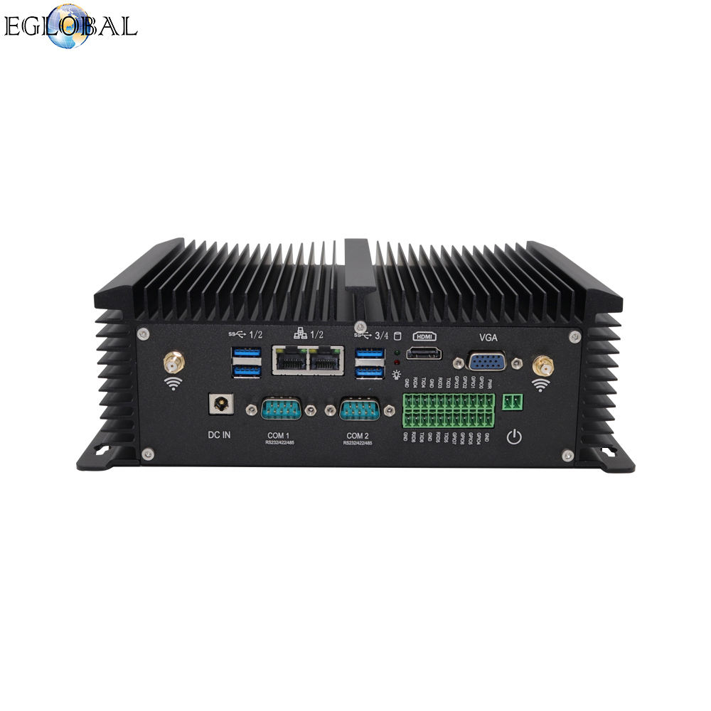 Eglobal intel core i5 8250U Mini computers 2 RJ45 LAN 2COM fanless computer doos met 1 CMOS clear knop i5 mini pc