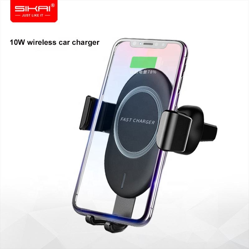 SIKAI 10W Air Vent Mount Phone Holder Qi Wireless Car Charger with Electromagnetic Induction For iPhone XS Max X 8