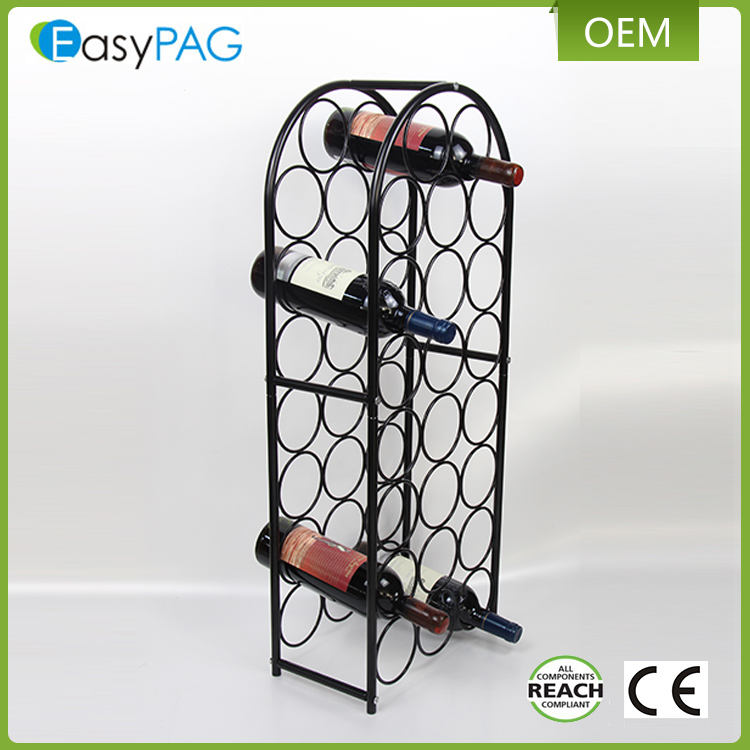 EasyPAG black color metal wire 23 bottle home bar corner wine rack