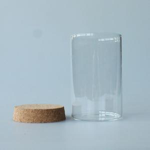personnalisé large bouche 65x100mm 8 oz grand verre bouteille liège bocal scellé conception hermétique bocal en verre