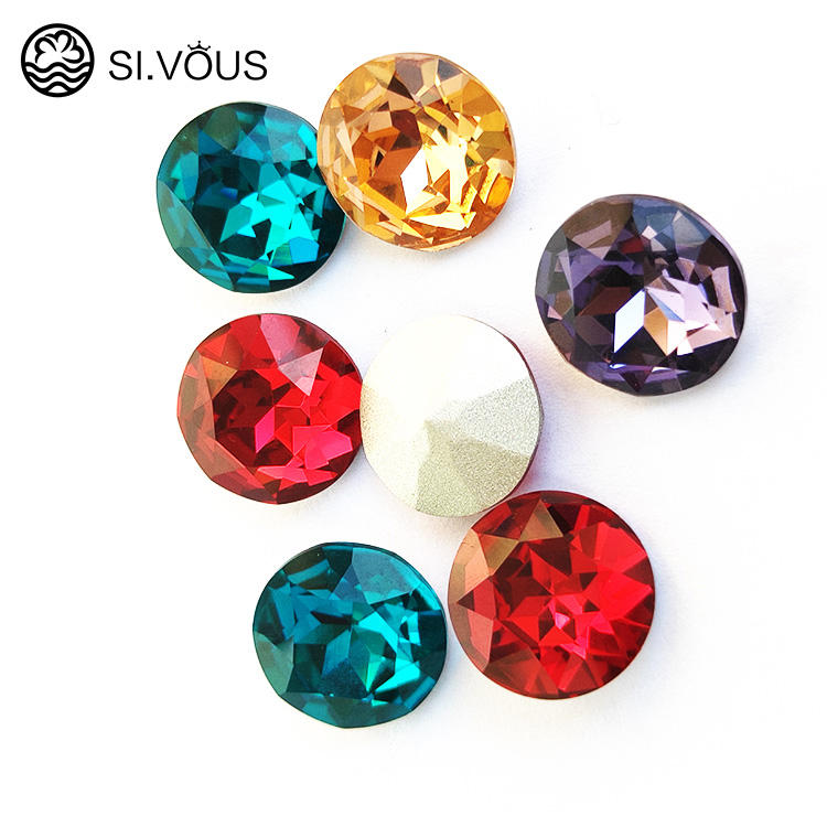 SI.VOUS K9 Glass chaton rhinestone point back crystal rhinestone hotfix loose beads