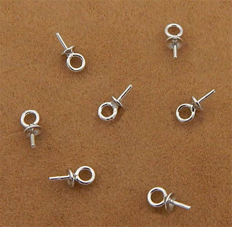 925 Sterling Zilver Half gat Charms Pins Hanger Schroef Eye Pin Bail Voor Charms Top Geboord Sieraden Accessoires