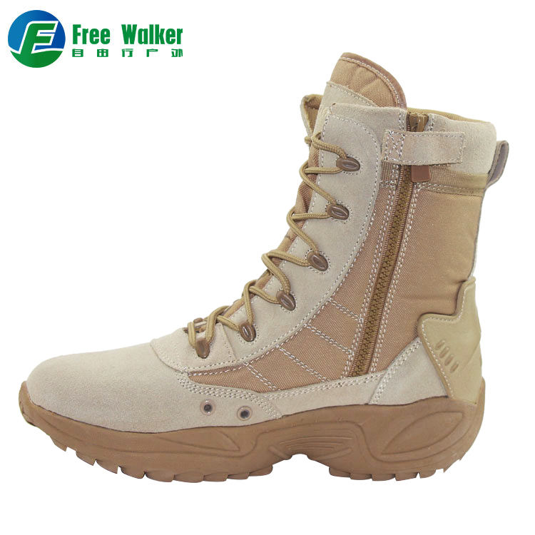 Custom design Lightweight Mens Beige tan color British american style Military desert shoes army Combat boots