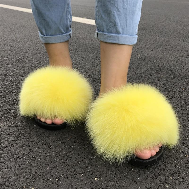 Ladies Fur Sandals slippers Casual Flat Slip On Fluffy soft fox Fur Slippers