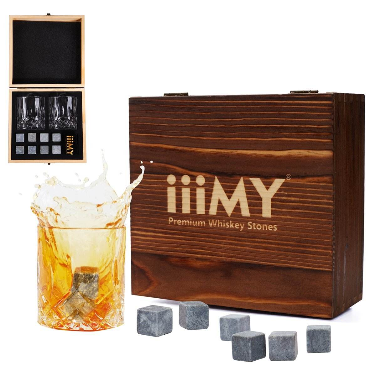 Whiskey Stones and Glasses Gift Set, Whisky Rocks Chilling Stones in Handmade Wooden Box Cool Drinks Without Dilutione