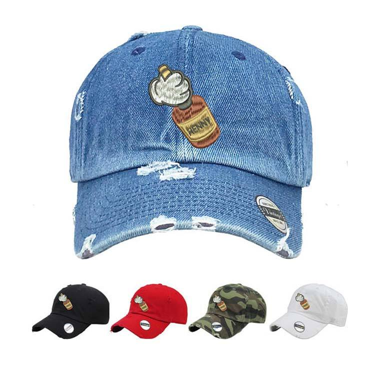 Dad Hat Mickey Hands Henny Vintage Dad Hat Embroidered Print Baseball Cap