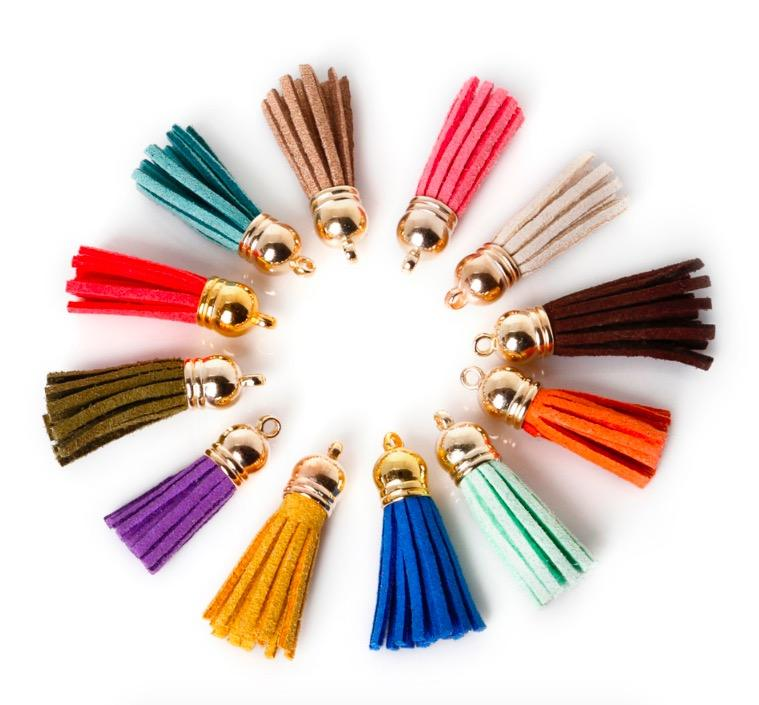 hot sale colorful faux leather tassels for DIY craft scrapbooking and jewelry making