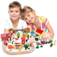 Goodkids 88PCS Wooden Preschool Waiting Room Train Track Toys Value Thomas Train Toy
