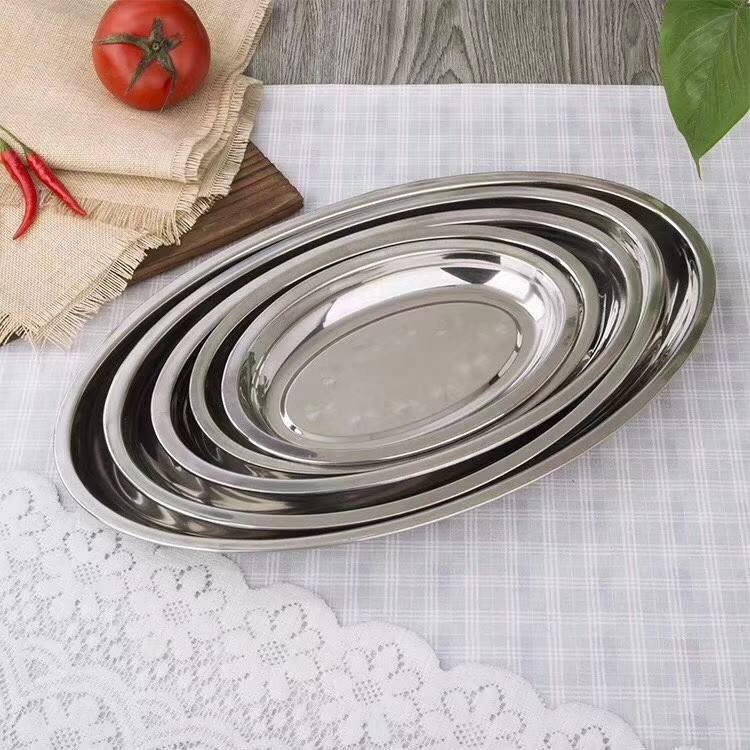 Food Grade Stainless Steel Metal Serving Tray oval tray BBQ buffet tray
