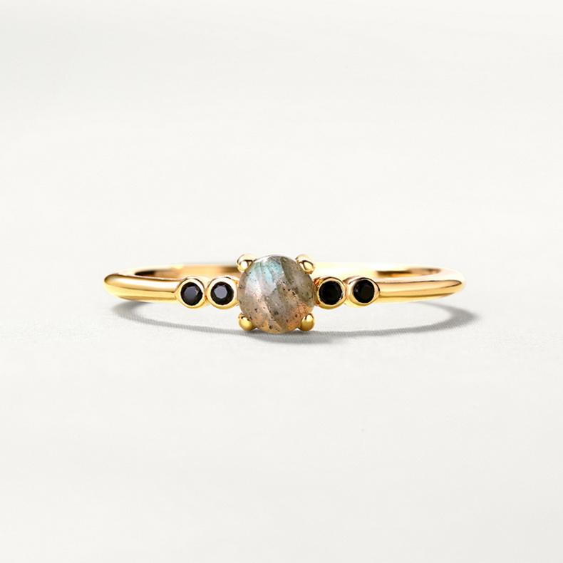 African minimal jewelry 925 Sterling silver thin band gold labradorite ring