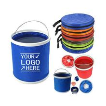 Collapsible Bucket , Portable Folding Pail Fishing Cleaning Bucket Car Wash Bucket No Leakage Fabric with Zippered Storage Bag
