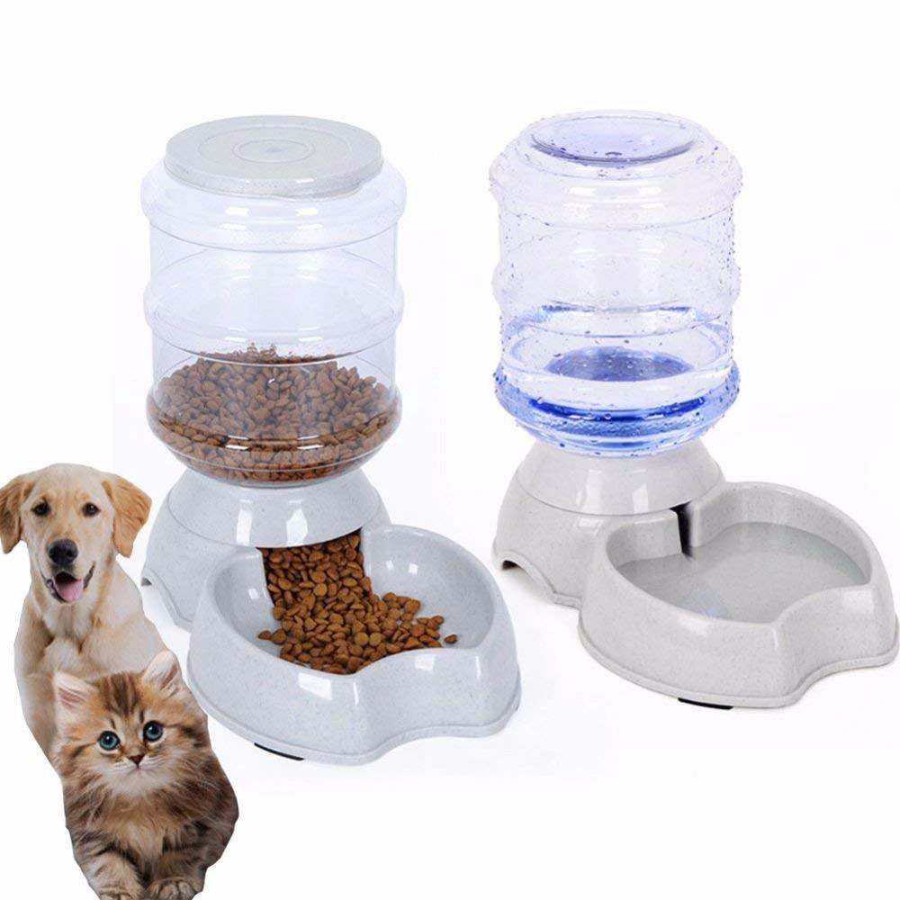 2 in 1 New Design Automatic Pet Dog Food Feeder, Automatic Pet Water Dispenser Water Drinking Fountain with Non Skid feet
