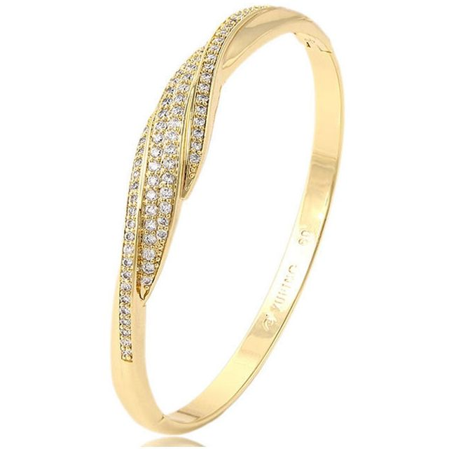 51442 xuping fashion jewelry 14k gold fancy new style indian diamond bangle