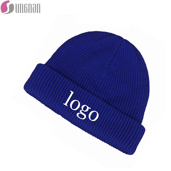Low MOQ Unisex Cuffed Plain Skull Beanie Knit Hat In Stock