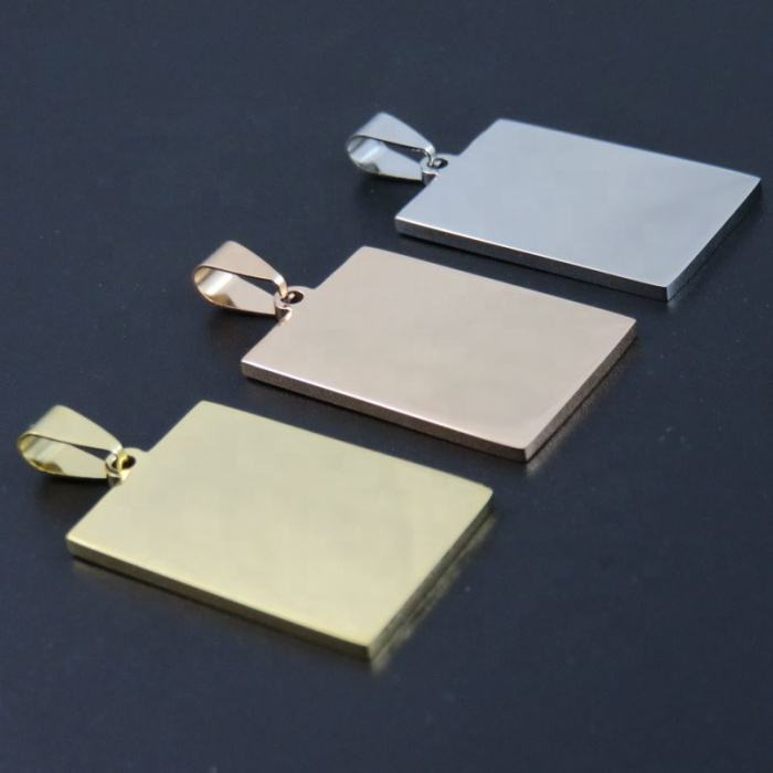 Customized engraved dog tags style silver/gold/rose gold fashion cheap wholesale stainless steel square pendant blank