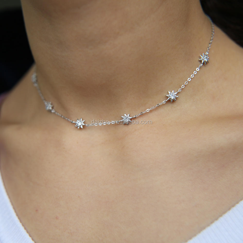 2018 fashion cheapest 925 sterling silver cz star charm choker neckalce for women wedding gift