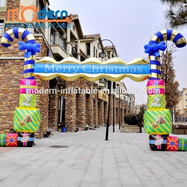 Outdoors Giant Christmas Inflatable Arch With Candy Stick Decoration