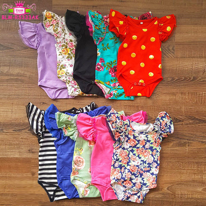 Newest Long Flutter Sleeve Ruffle Jumpsuit Floral Baby leotards Wholesale Kids Wear Romper