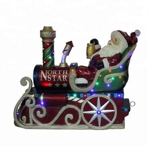 Musical Led light decor resin life size Christmas Santa Clause sleigh with train