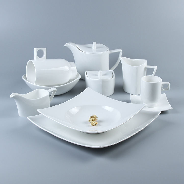 White porcelain ceramic restaurant used italian dinnerware 8 piece malaysia dinner set