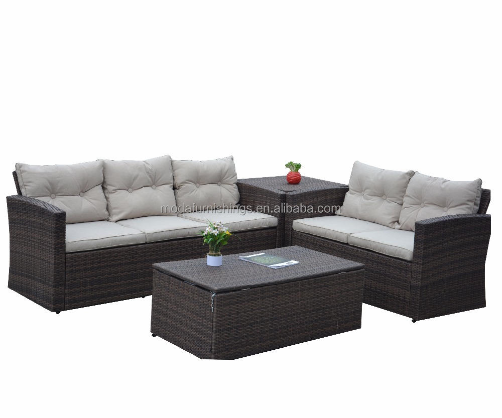All Weather 4 Piece Rattan Sectional Seating Group with Cushions