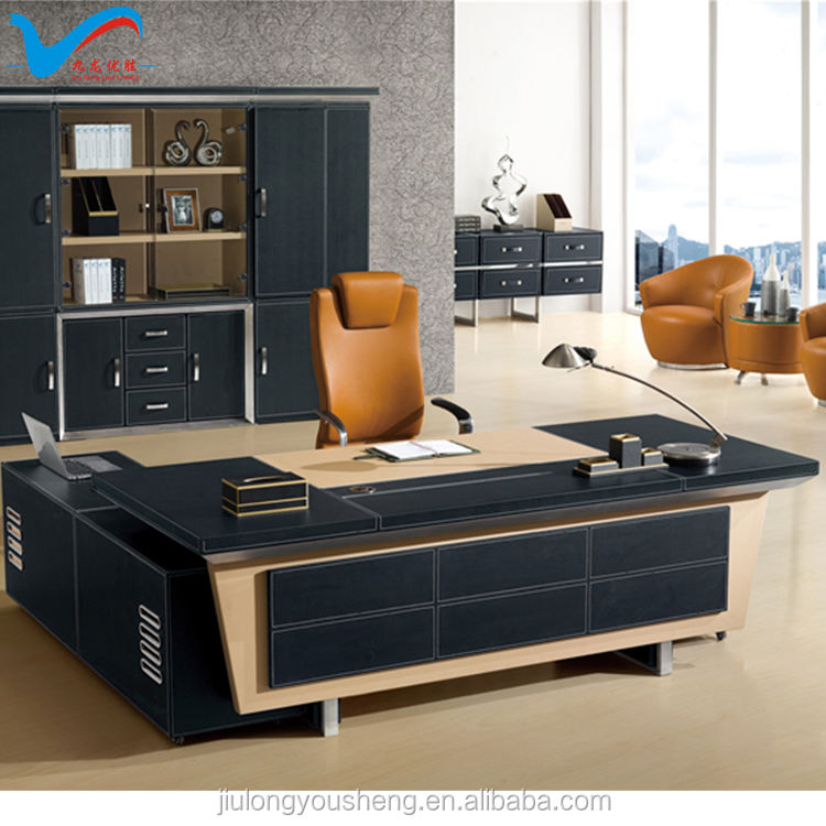 high end office furniture F65 luxury bonded leather office table from Foshan factory