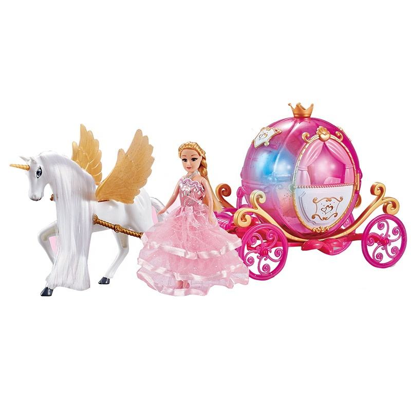 Princess flying horse carriage doll carriage toy beauty set with light and music