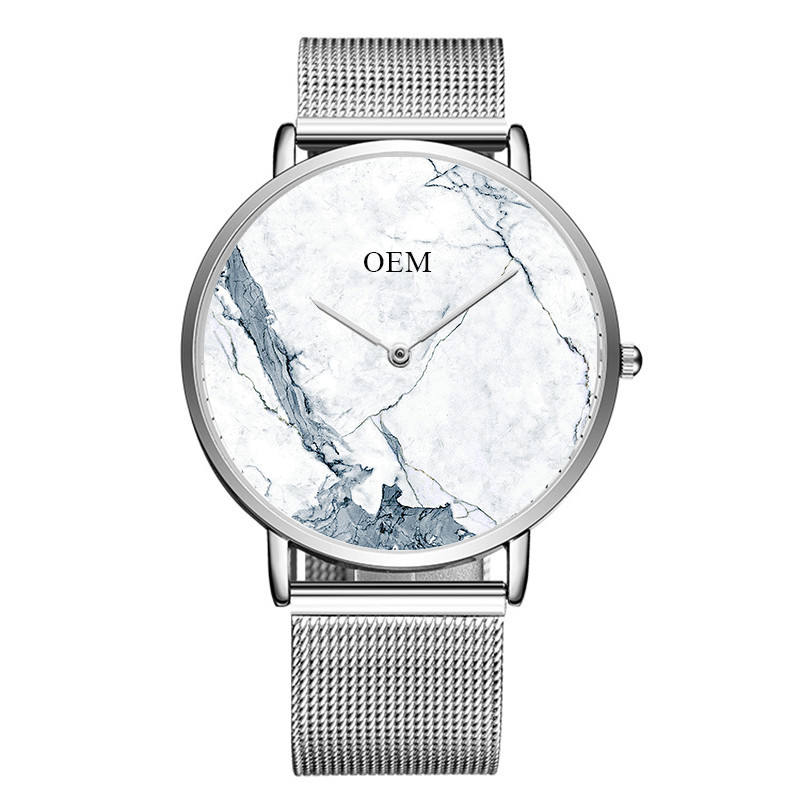 Classy Men Wrist Watches With Own Company Logo Marble Design Personalized Watch Making Brand Miyota Movement Available
