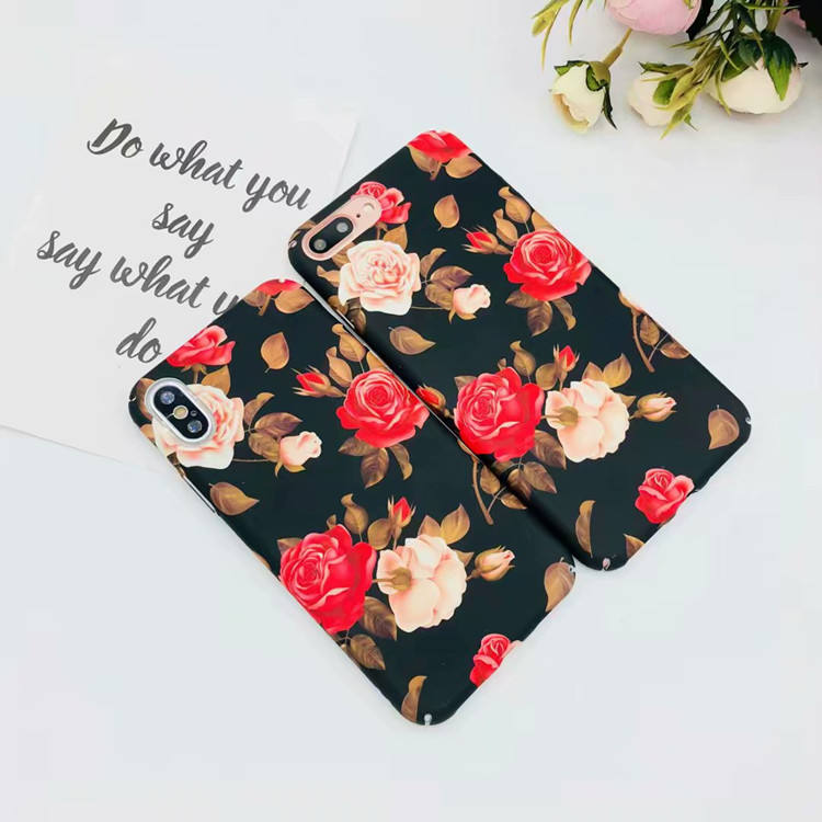 Black Dark Night Rose Hard Plastic Phone Cover for iPhone X , for iPhone 8 PC Case Vintage Flower