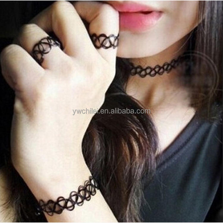 Retro Stretch Tattoo Choker Hennè Nero Boho Collana Elastica