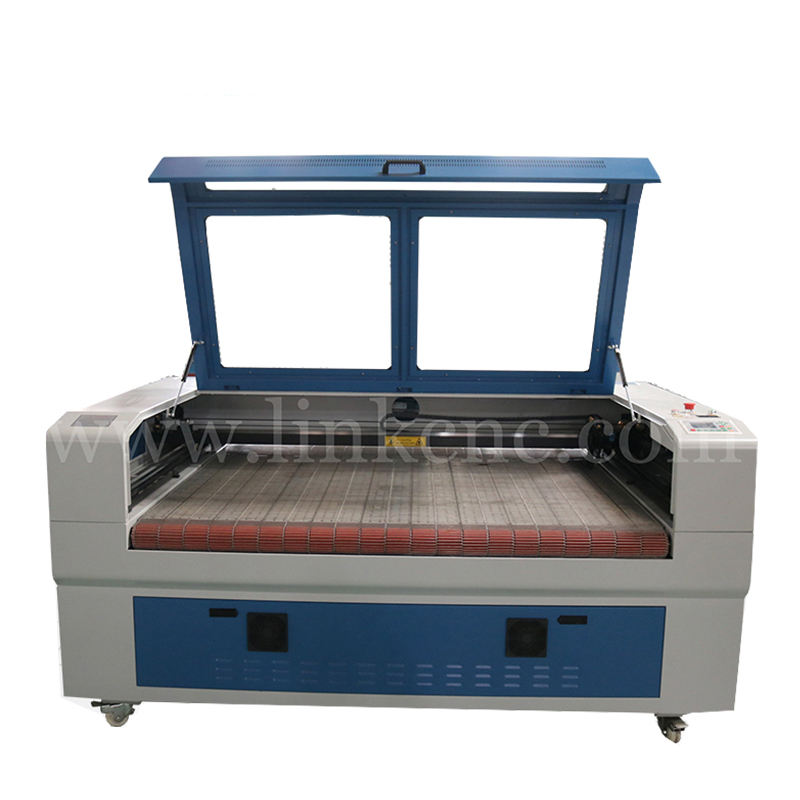 automatic feed CO2 Laser 90 Watt Fabric leather plastic 2 heads Laser cutting machine