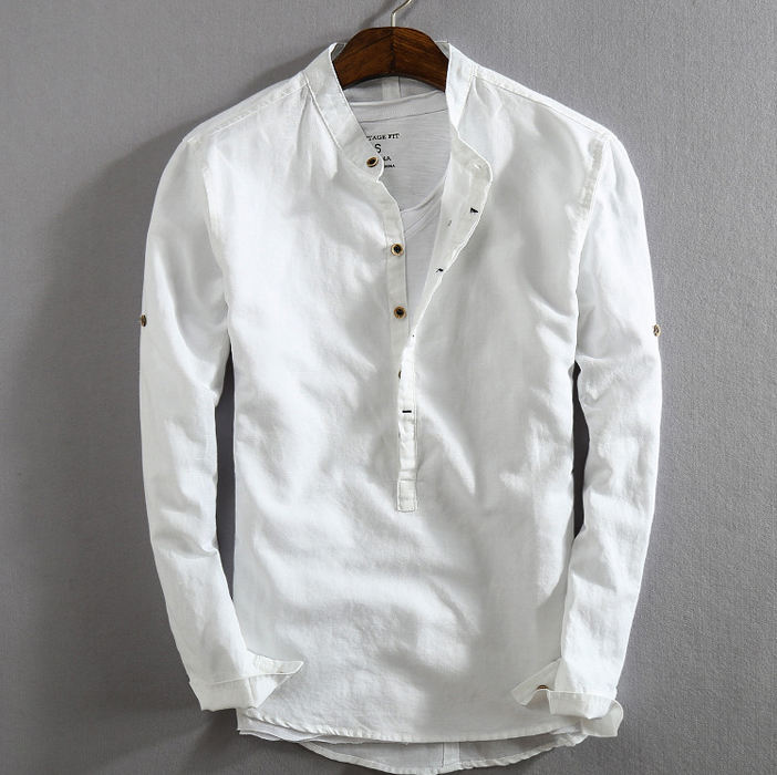 Wholesale white casual us size mens long sleeve linen cotton shirts