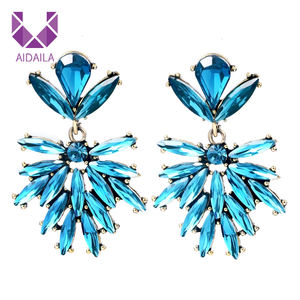 AIDAILA Wedding Jewelry Bridal Party Blue Colorful Crystal Chandelier Earrings
