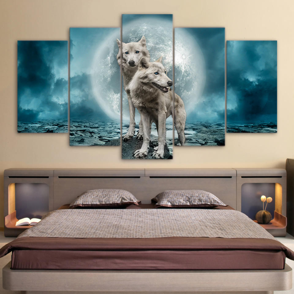 5 Panel Canvas Art Painting Printing Snow Wolf Moon Wall Art Print Canvas Home Decoration Living Room Painting