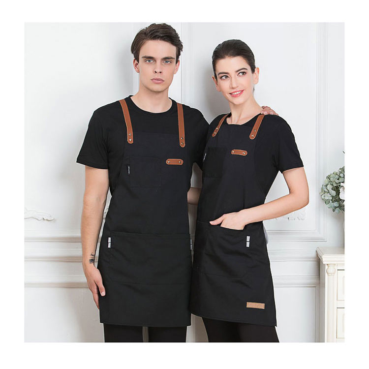 black blue green China manufacture durable cotton kitchen apron for cooking chef 7-eleven aprons tablier with customized logo