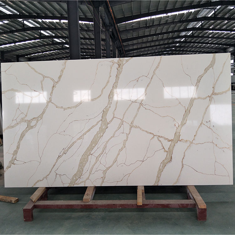 SH8381 Manmade Calacatta White Quartz Stone Slabs Price,Artificial Large Quartz Slabs,Calacatta Oro Gold Quartz Stone