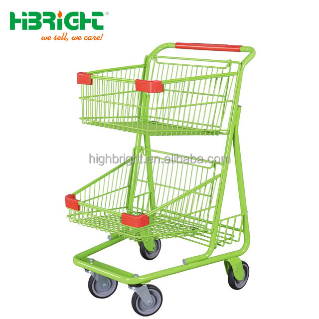 double basket supermarket shopping trolley with advertising sign holder