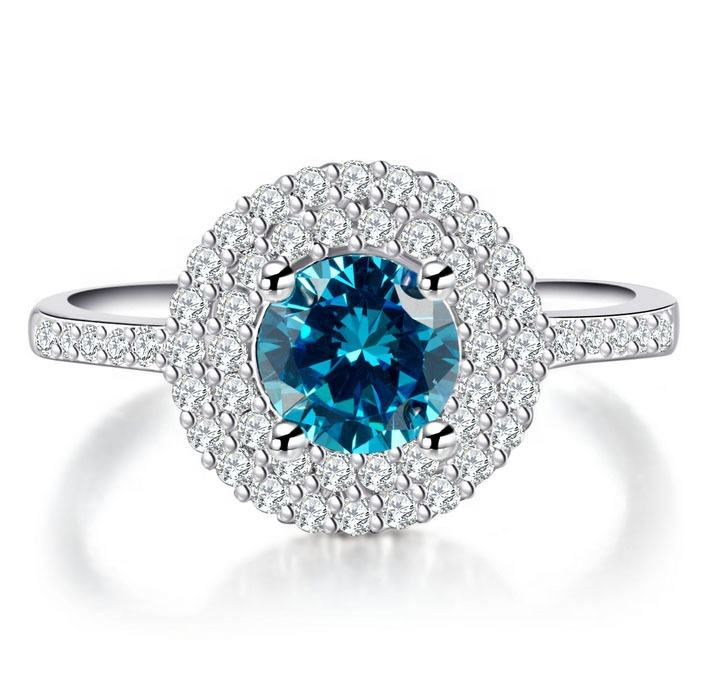 Caoshi Luxury Silver Plated Blue Round Cz Promise Ring 925 Pave Diamond Ring