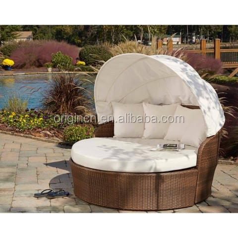 Patio beach wicker round day bed outdoor lounge chair with canopy