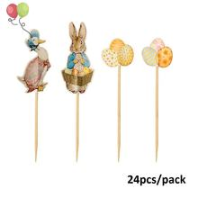 Easter Themed Cupcake Toppers Peter Rabbit,Mother Goose, Eggs, Spring Party Supplies - Pack of 24  PQ218