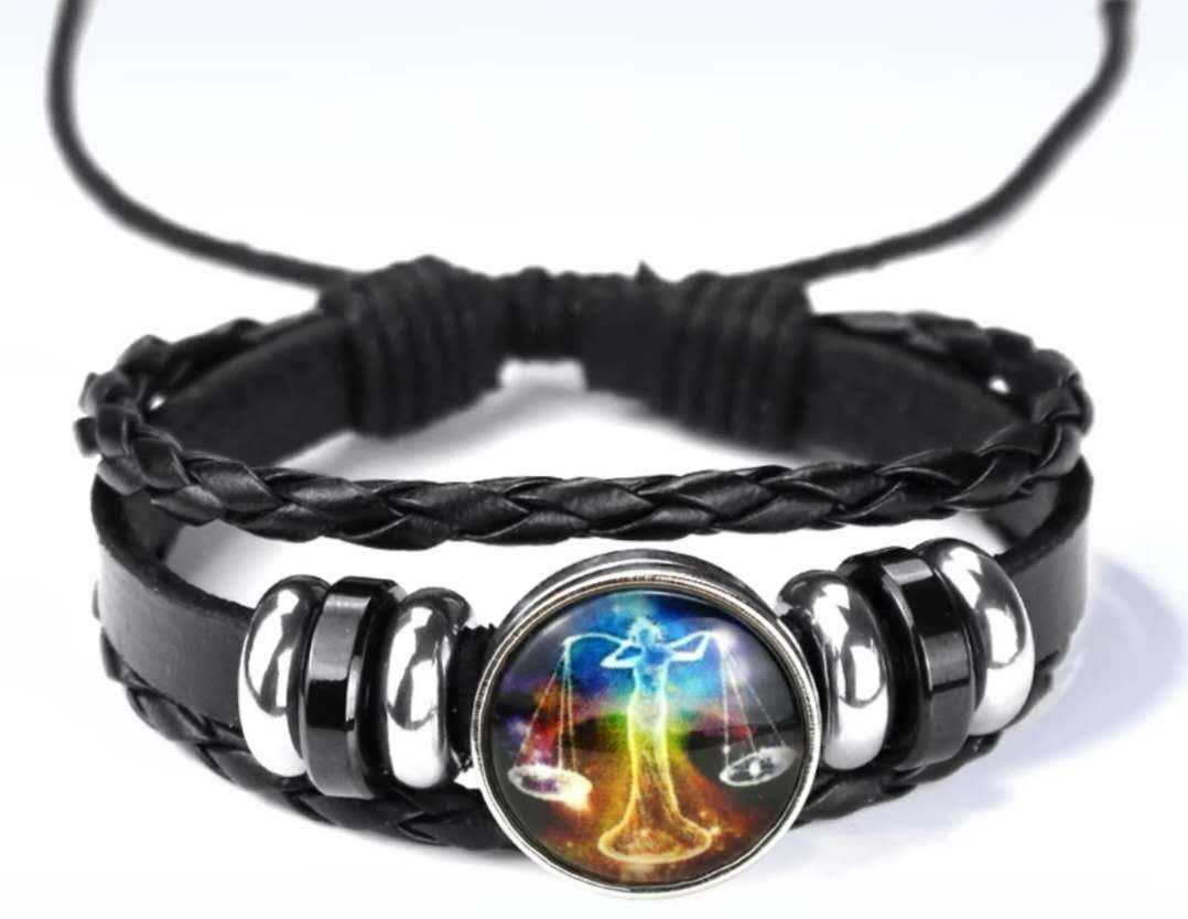 Promotional Gift Leather Alloy Knitting 12 Constellations Jewelry Zodiac Bracelet