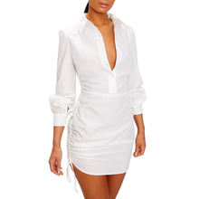 Wholesale Fashion White Summer Dress 100% Cotton Long Sleeves Ruched Side Fitted Mini Ladies Shirt Dress
