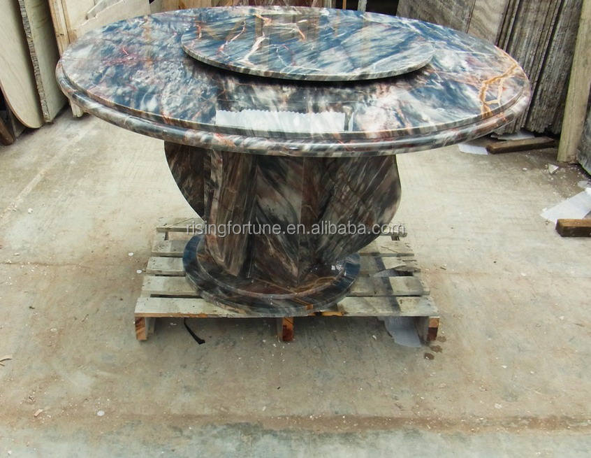 Marble 8 seater round rotating dining table