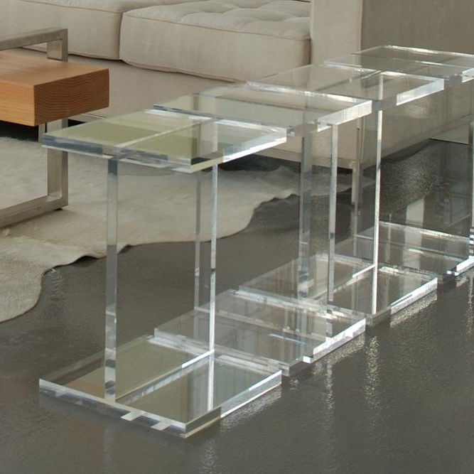 Square Acrylic Pedestal Coffee Table Acrylic Table Side
