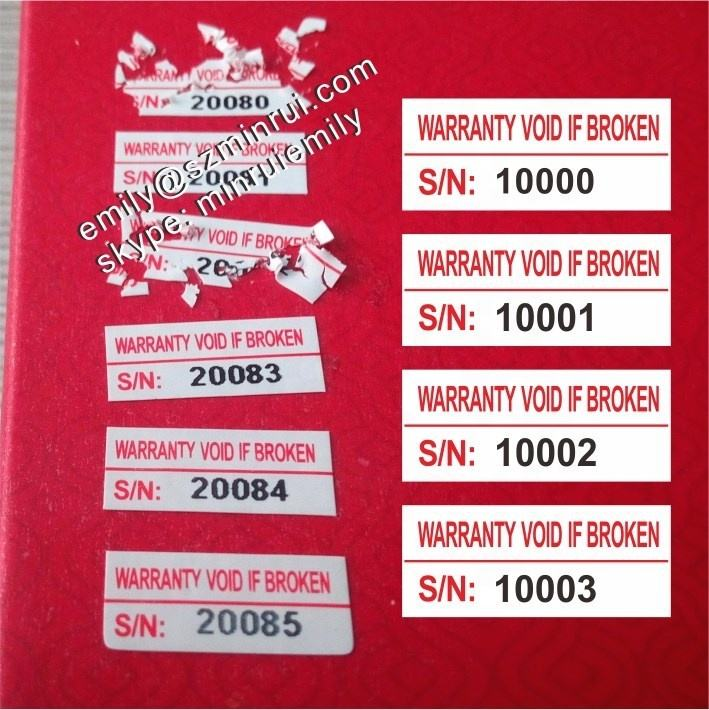 Custom security tamper evident fragile destructible labels with serial numbers, Warranty Void If Broken paper warranty stickers
