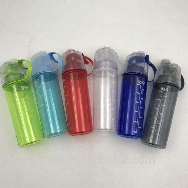Plastic Sport Drinking Spray Water Bottle with Spray and Straw