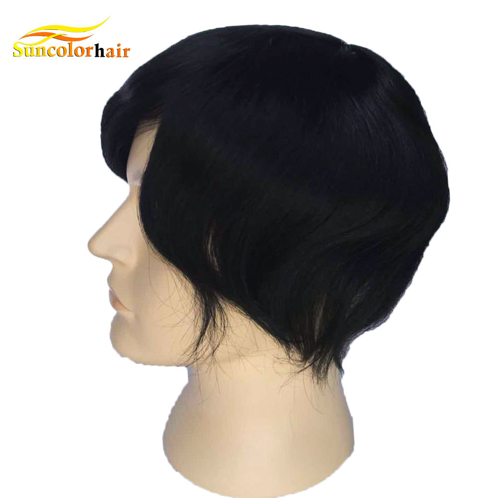 New men wigs french lace hair mens toupee permanent toupee hair for men on sale