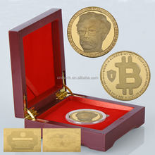 Ebay China Popular Products Bitcoin Gold Plated Coin Commemorative Home Decor Challenge Gold Coin Wooden Box for Collection